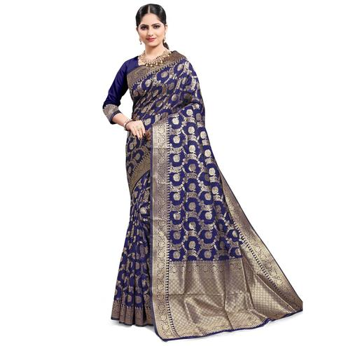 Pache - Navy Blue Colored Festive Wear South Indian Art Silk Saree