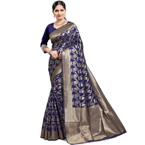 Pache - Navy Colored Festive Wear Soft Art Silk Saree
