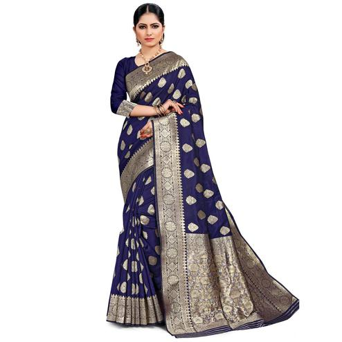 Pache - Navy Blue Colored Festive Wear Art Silk Saree