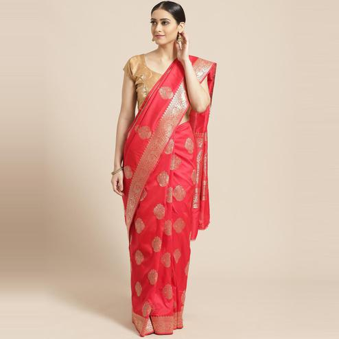 Pache - Red Colored Festive Wear Soft Art Silk Saree