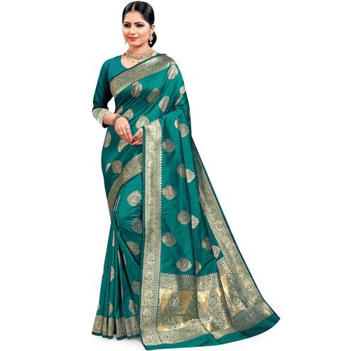 Pache - Teal Green Colored Festive Wear Soft Art Silk Saree