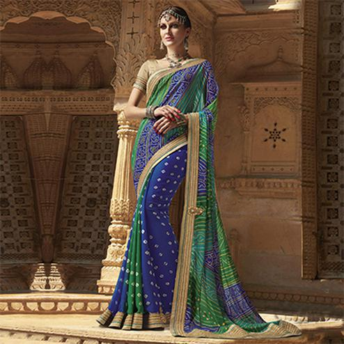 Blue - Green Georgette Bandhani Print Saree