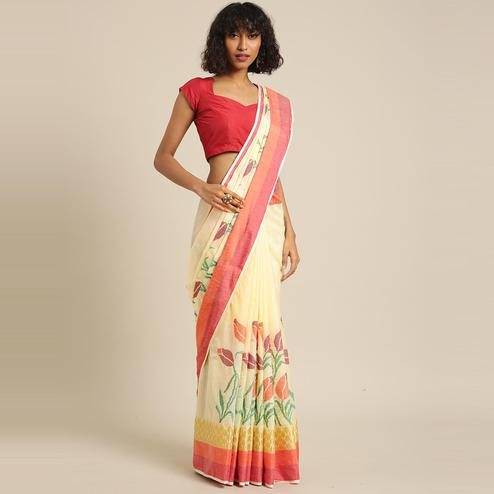 Pache - Off White Colored Partywear Embroidered Art Silk Saree