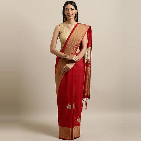 Pache - Red Colored Partywear Embroidered Cotton Art Silk Saree With Tassels