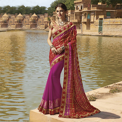 Pink - Red Traditional Bandhani Printed Saree