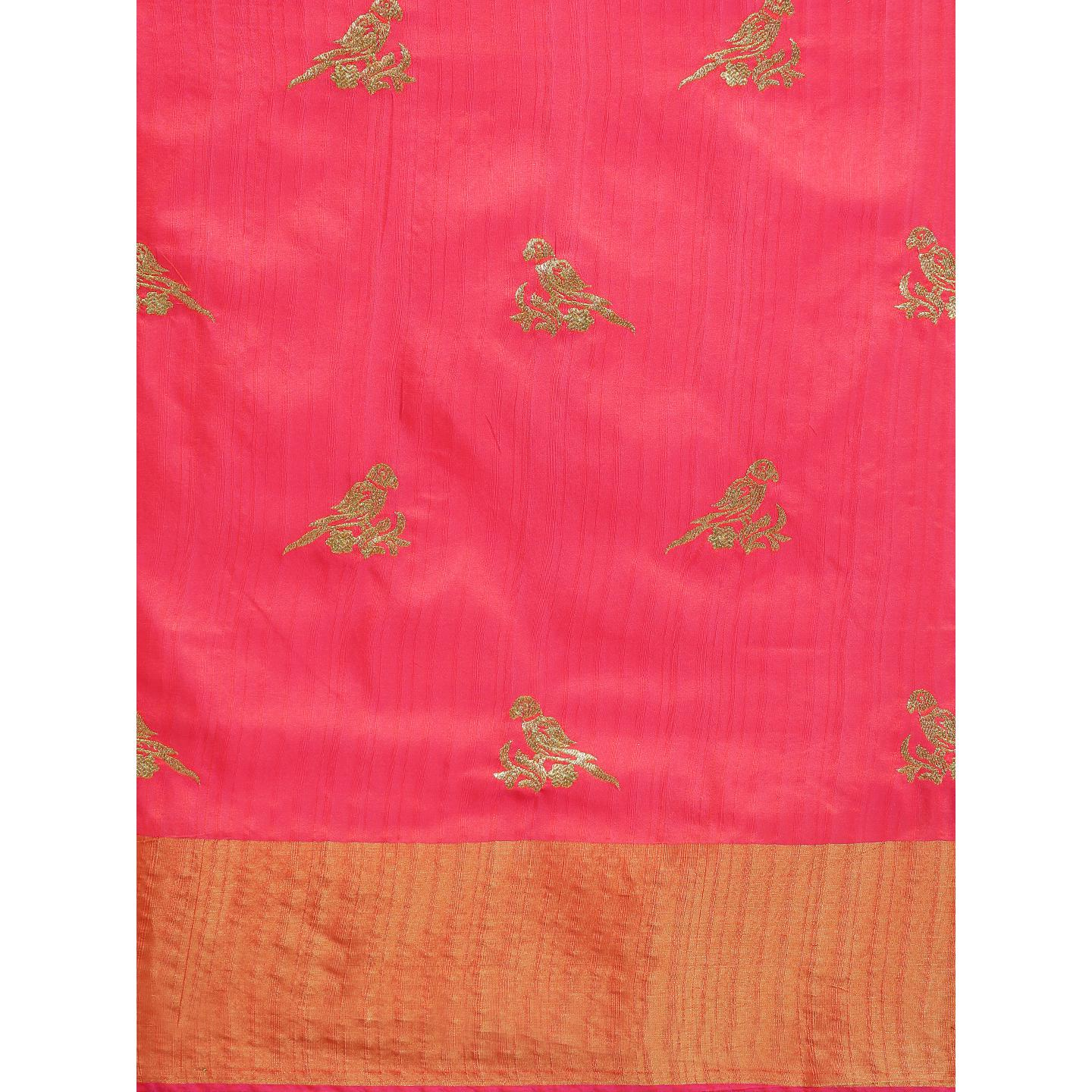 Pache - Pink Colored Partywear Embroidered Cotton Art Silk Saree With Tassels