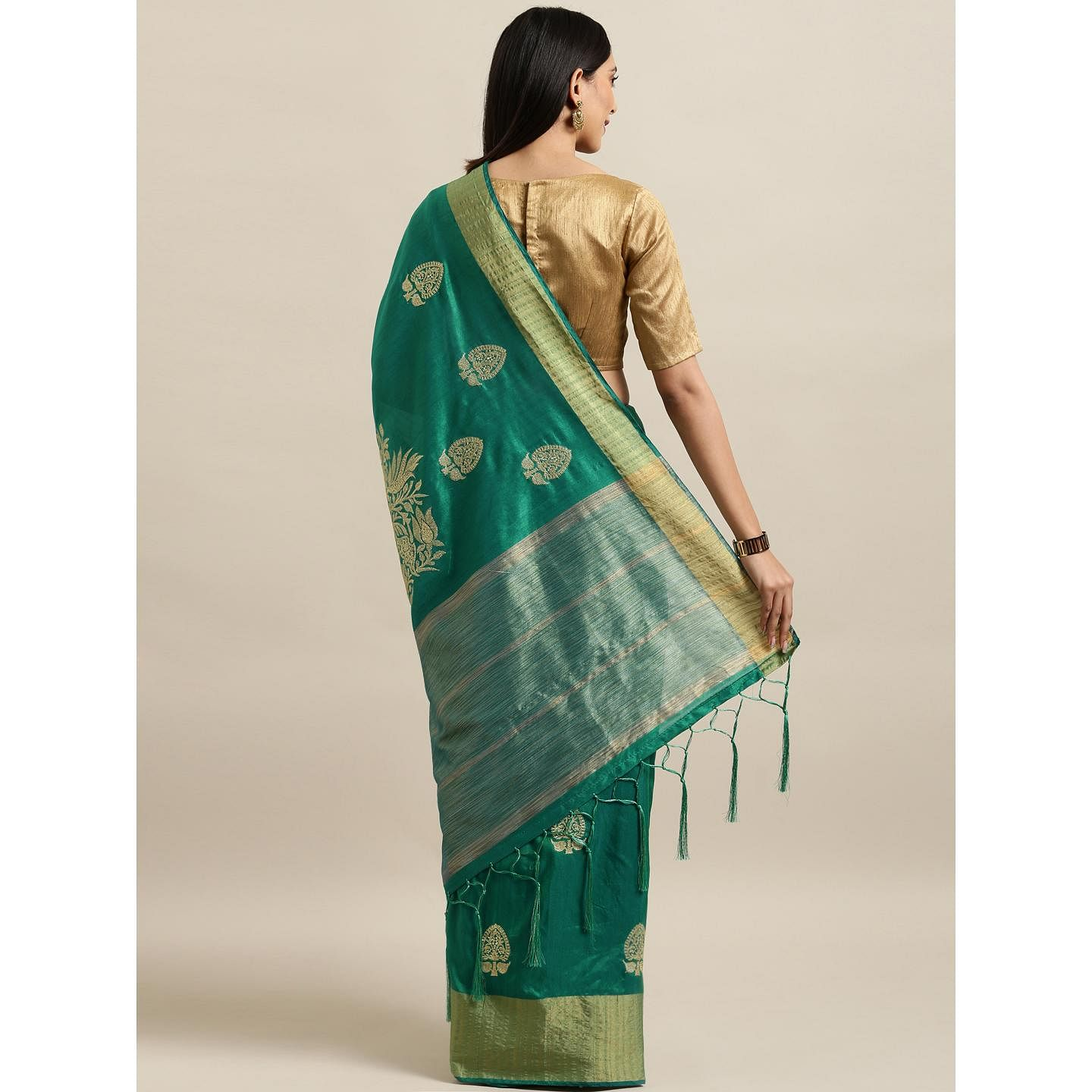 Pache - Green Colored Partywear Embroidered Cotton Art Silk Saree With Tassels