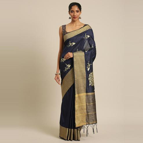 Pache - Navy Blue Colored Partywear Embroidered Cotton Art Silk Saree With Tassels