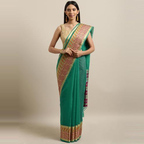 Pache - Green Colored Festive Wear Woven Cotton Art Silk Saree With Tassels