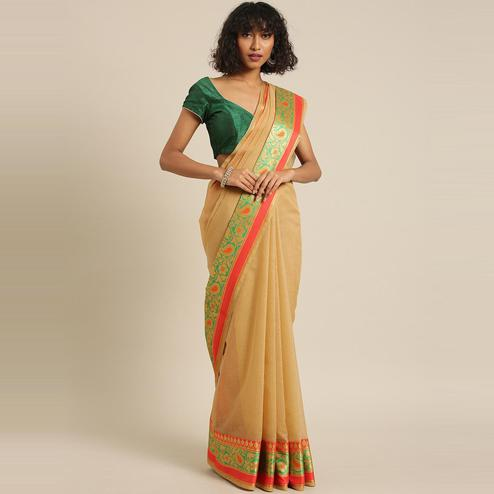 Pache - Beige Colored Festive Wear Woven Cotton Art Silk Saree With Tassels