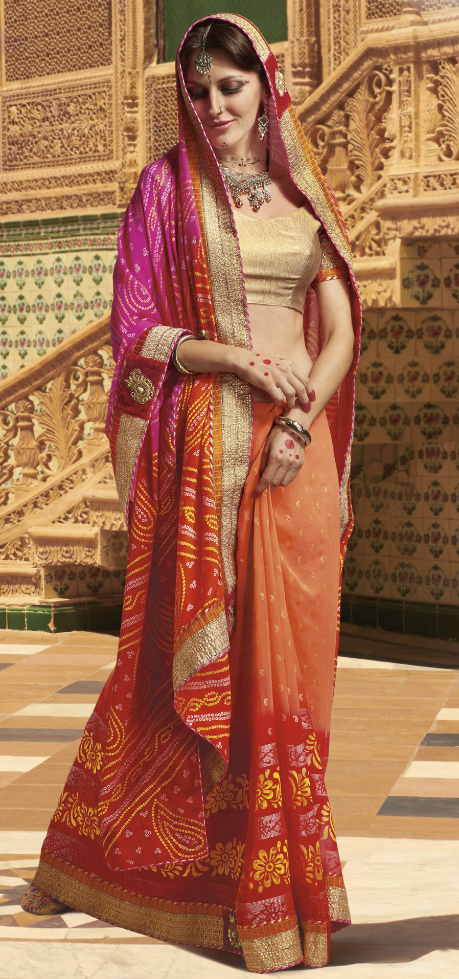 Peach - Orange Bandhani Print Saree