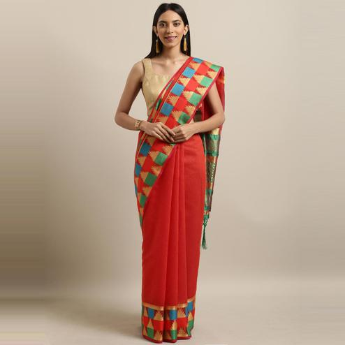 Pache - Red Colored Festive Wear Woven Cotton Art Silk Saree With Tassels