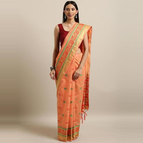 Pache - Peach Colored Festive Wear Woven Banarasi Art Silk Saree With Tassels