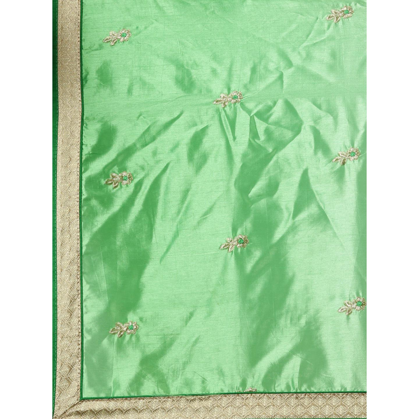 Pache - Green Colored Partywear Embroidered Art Silk Saree