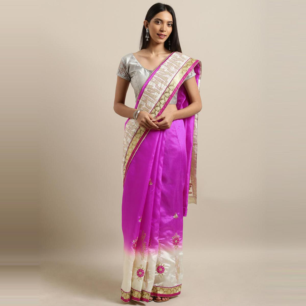 Pache - Pink Colored Partywear Embroidered Art Silk Saree