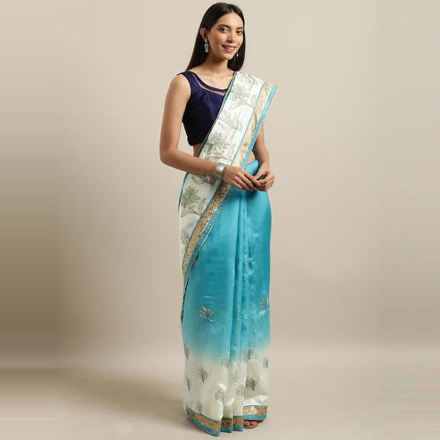 Pache - Blue Colored Partywear Embroidered Art Silk Saree