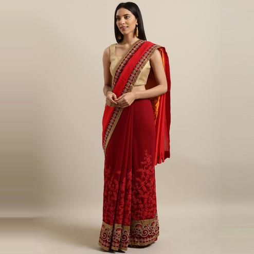 Pache - Red Colored Partywear Embroidered Art Silk Saree