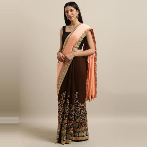 Pache - Pink & Brown Colored Partywear Embroidered Art Silk Saree