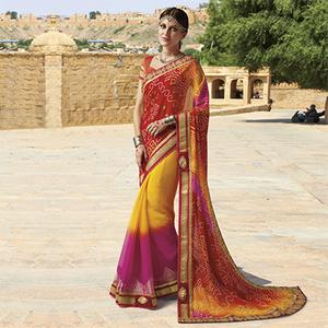 Multicolored Georgette Bandhani Print Saree