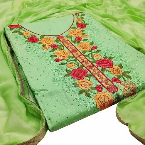 Classy Green Colored Partywear Embroidered Floral Cotton Dress Material