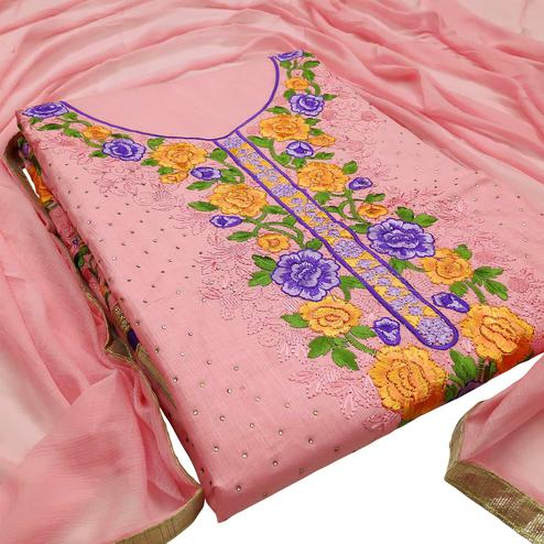 Appealing Peach Colored Partywear Embroidered Floral Cotton Dress Material