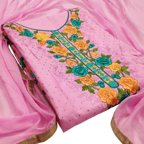 Capricious Pink Colored Partywear Embroidered Floral Cotton Dress Material