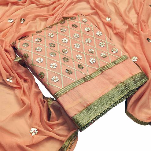 Groovy Peach Colored Festive Wear Woven Modal Silk Dress Material
