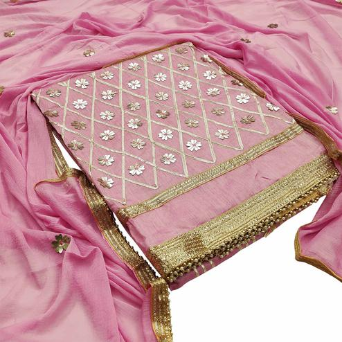 Exclusive Light Pink Colored Festive Wear Woven Modal Silk Dress Material