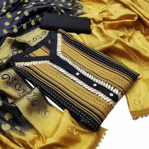 Radiant Yellow Colored Partywear Embroidered Cotton Dress Material