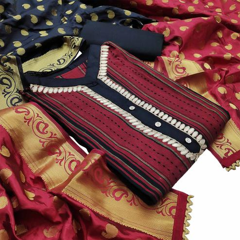 Pleasant Maroon Colored Partywear Embroidered Cotton Dress Material