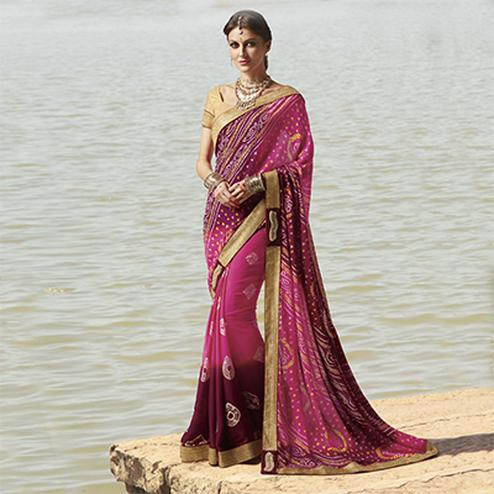 Pink - Wine  Traditional Bandhani Printed Saree