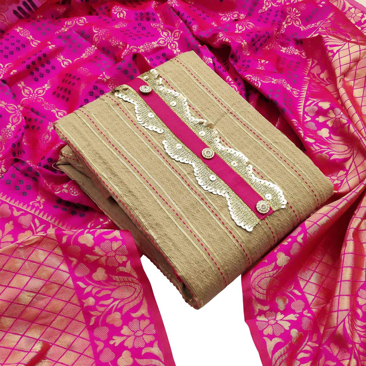 Opulent Beige-Pink Colored Partywear Embroidered Cotton Dress Material