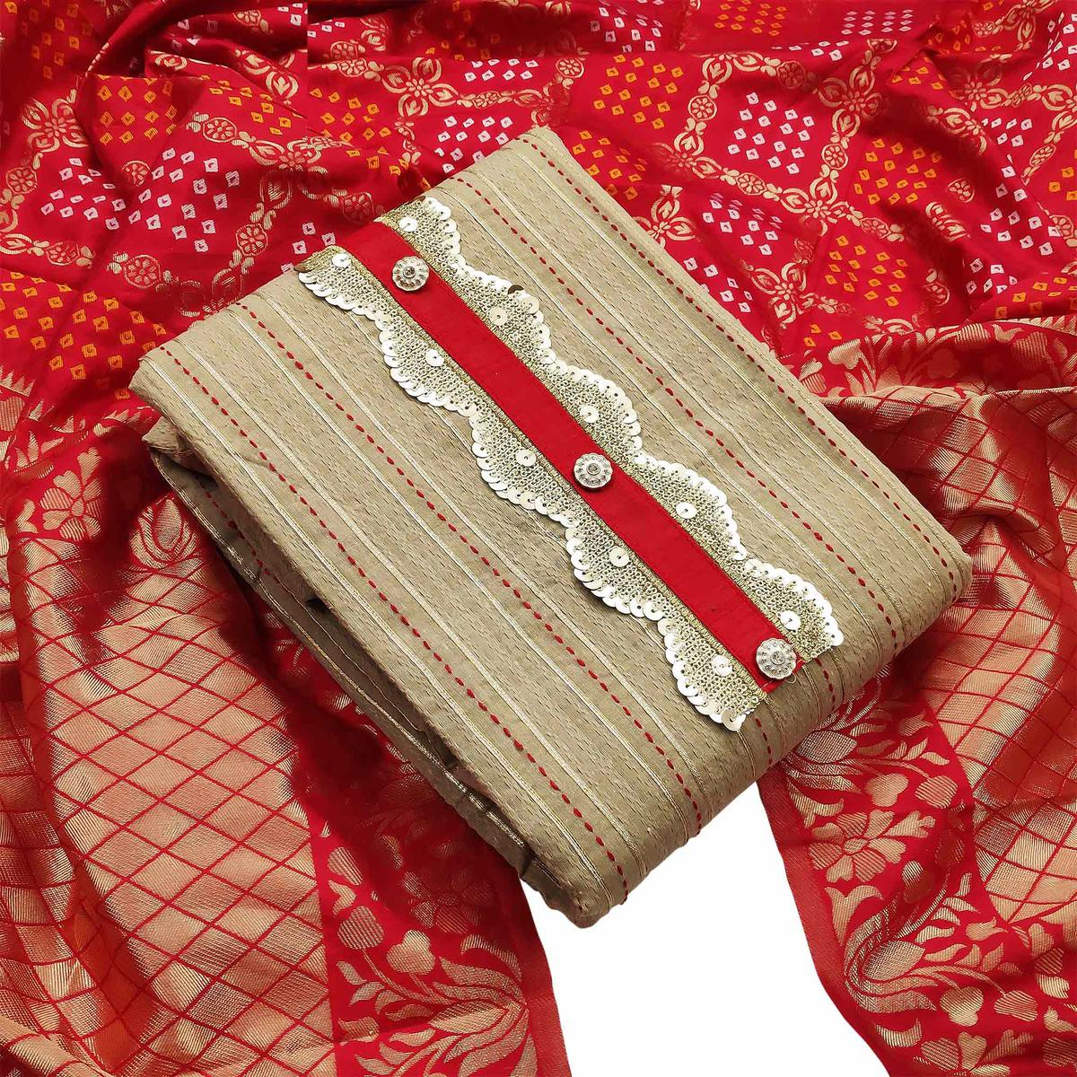 Energetic Beige-Red Colored Partywear Embroidered Cotton Dress Material