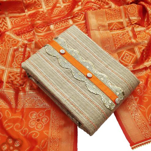 Exceptional Beige-Orange Colored Partywear Embroidered Cotton Dress Material
