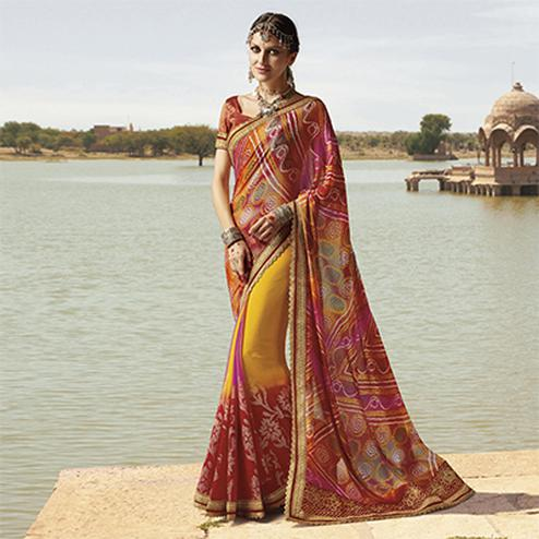 Yellow - Maroon  Traditional Bandhani Printed Saree