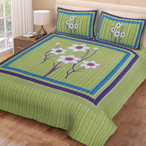 Charming Green Colored Floral Print Cotton Double Bedsheet with 2 Pillow Cover