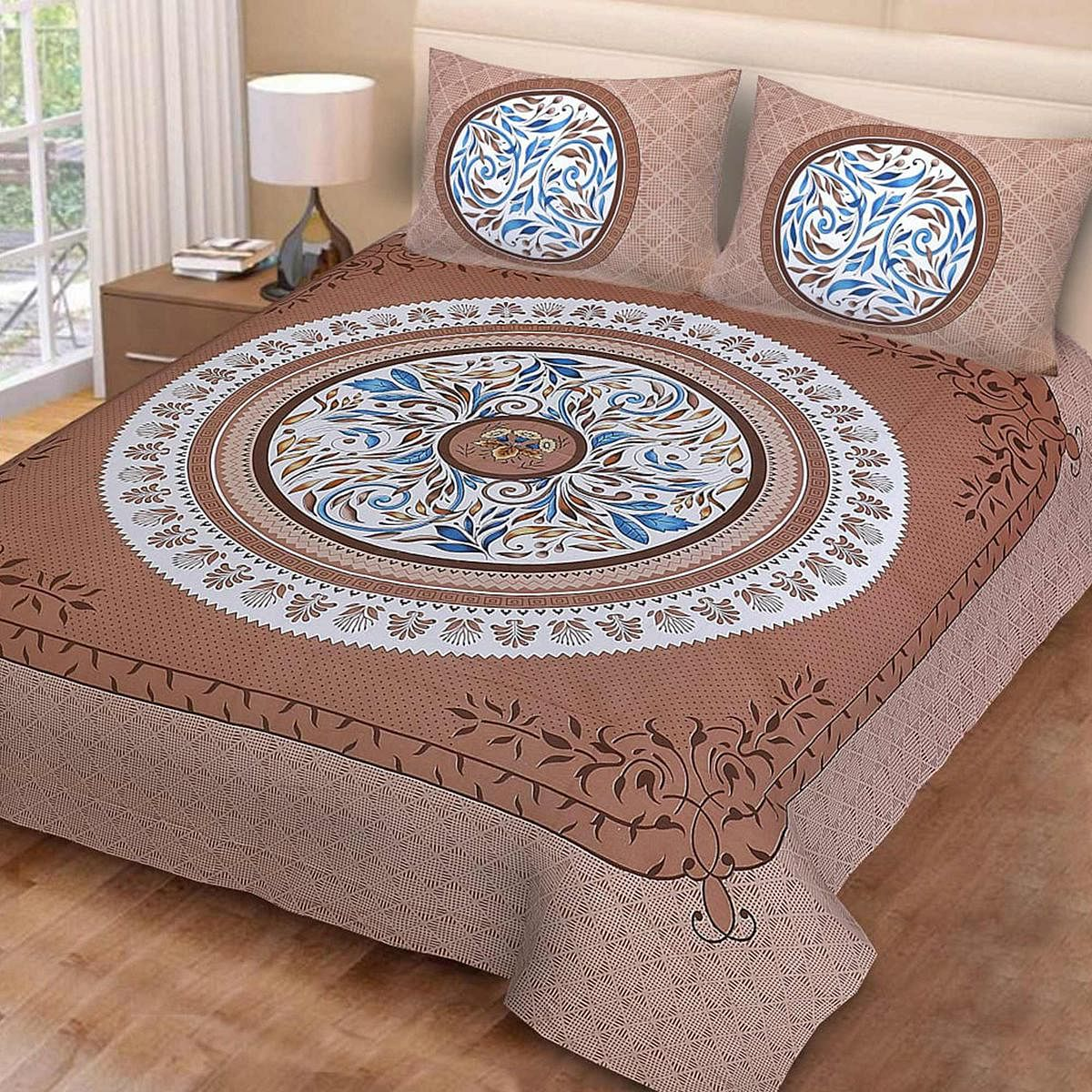 Eye-catching Brown Colored Print Cotton Double Bedsheet with 2 Pillow Cover