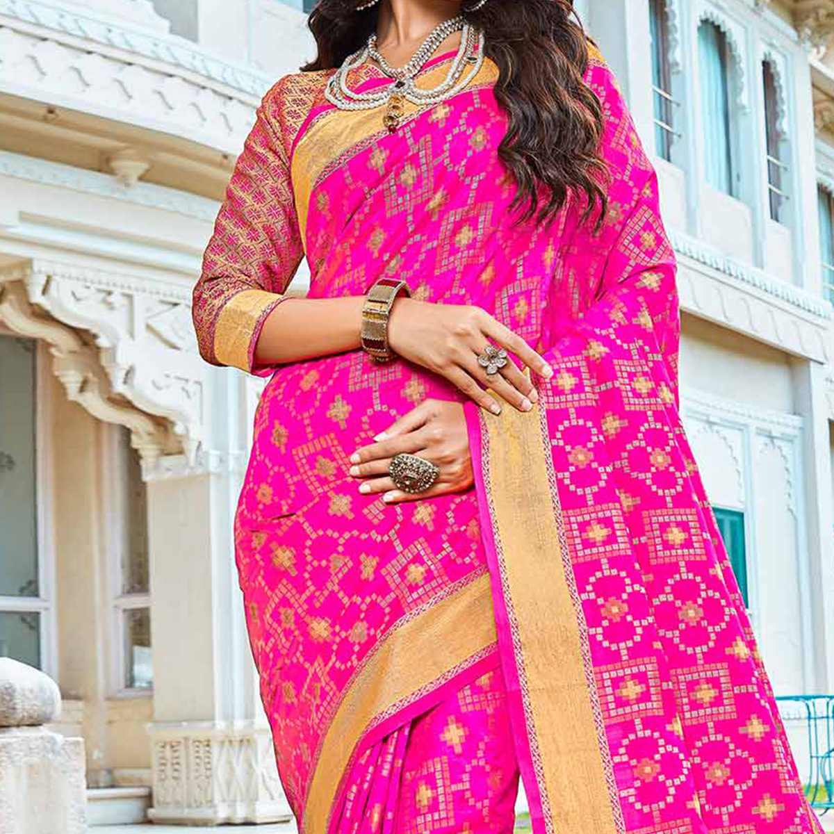 Hot Pink Festive Wear Saree With Weaving Work