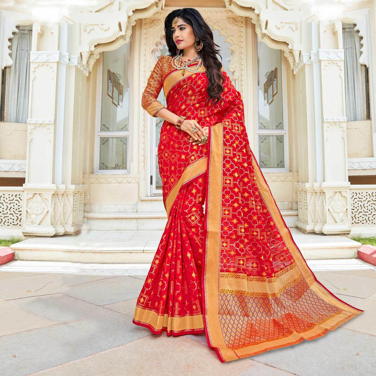 Deep Red Weaving Work Saree