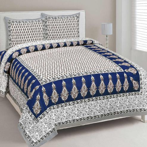 Staring White-Blue Colored Print Cotton Bedsheet with 2 Pillow Cover