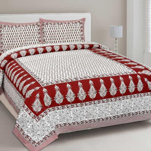 Surpassing White-Red Colored Print Cotton King Size Bedsheet with 2 Pillow Cover
