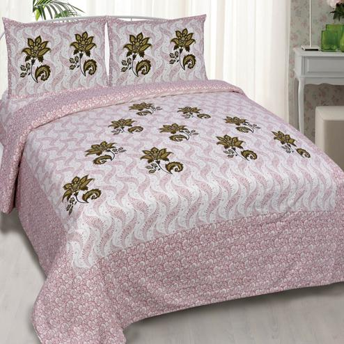 Intricate Pink Colored Floral Print Cotton King Size Bedsheet with 2 Pillow Cover