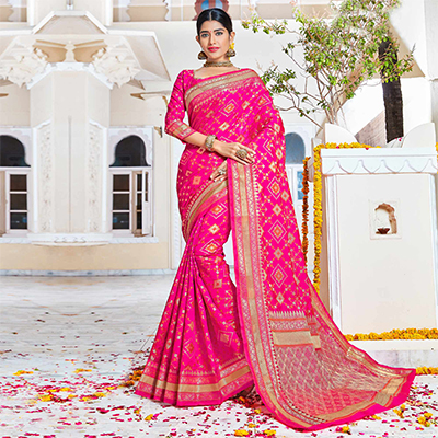 Hot Pink Reception Wear Saree With Weaving Work