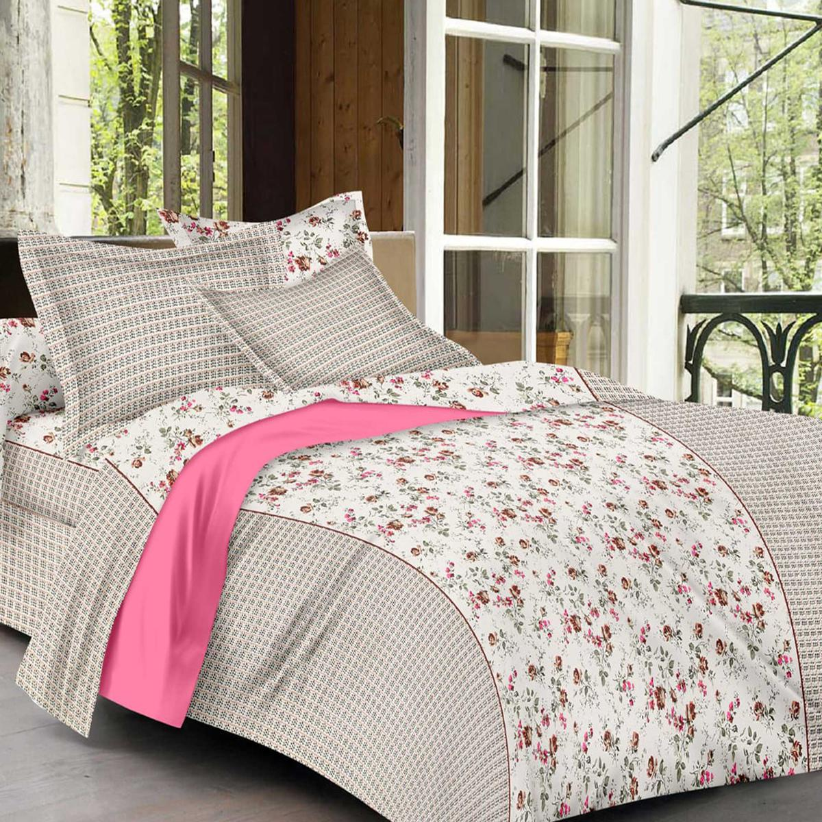 Magnetic Cream Colored Floral Print Cotton King Size Bedsheet with 2 Pillow Cover
