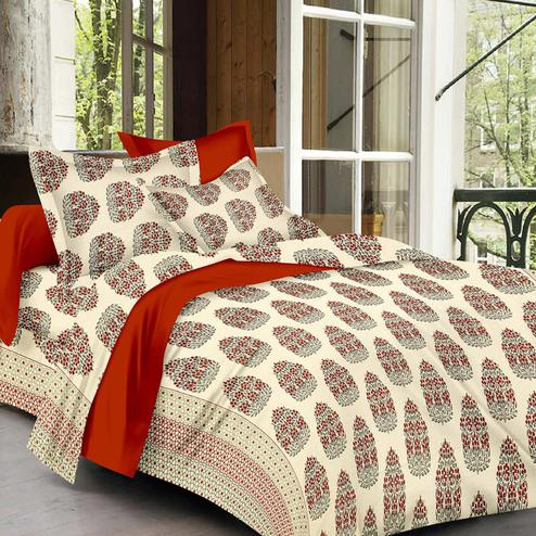 Flamboyant Cream Colored Floral Print Cotton King Size Bedsheet with 2 Pillow Cover