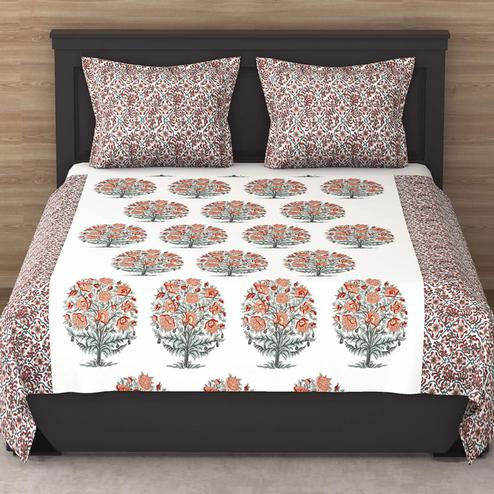 Pretty White Colored Floral Print Cotton King Size Bedsheet with 2 Pillow Cover