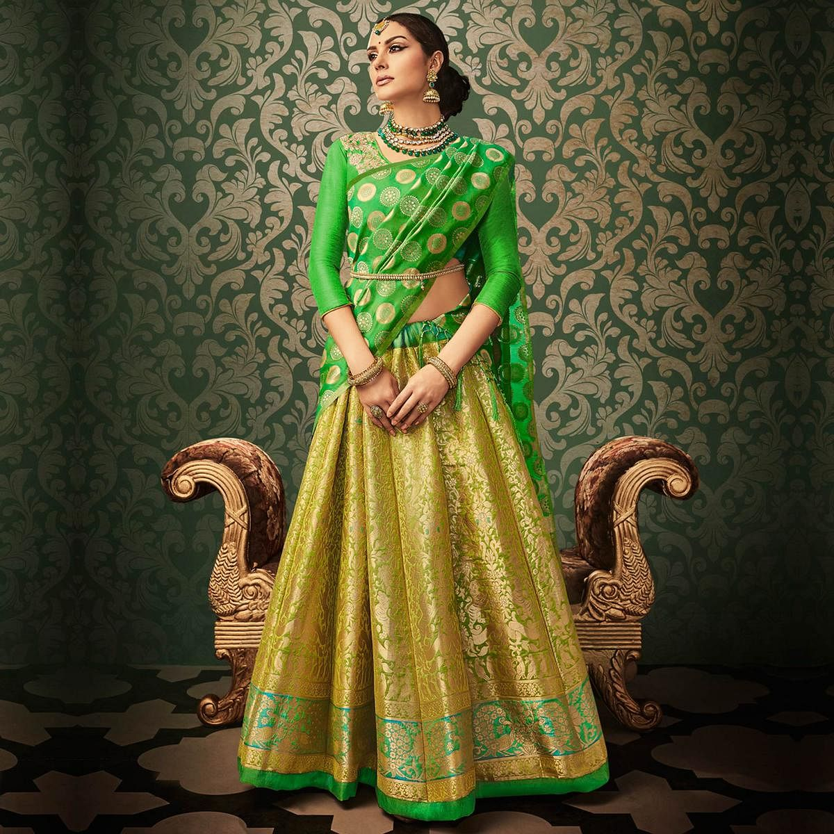 bc8072ee18 Buy Green Pure Banarasi Silk Wedding Wear Lehenga Choli for womens online  India, Best Prices, Reviews - Peachmode