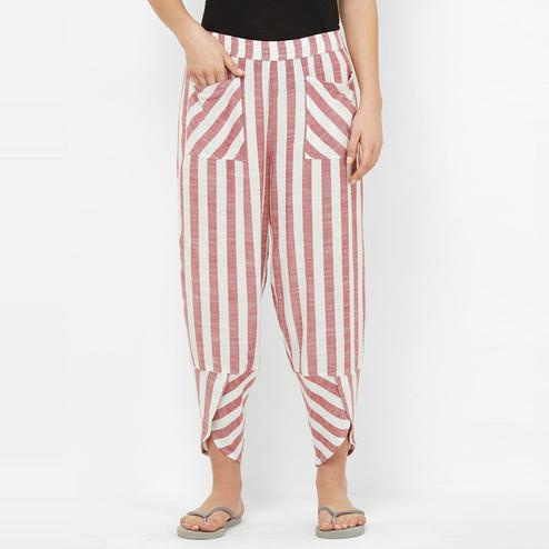 Mystere Paris - Maroon White Colored Classic Striped Rayon Lounge Pant