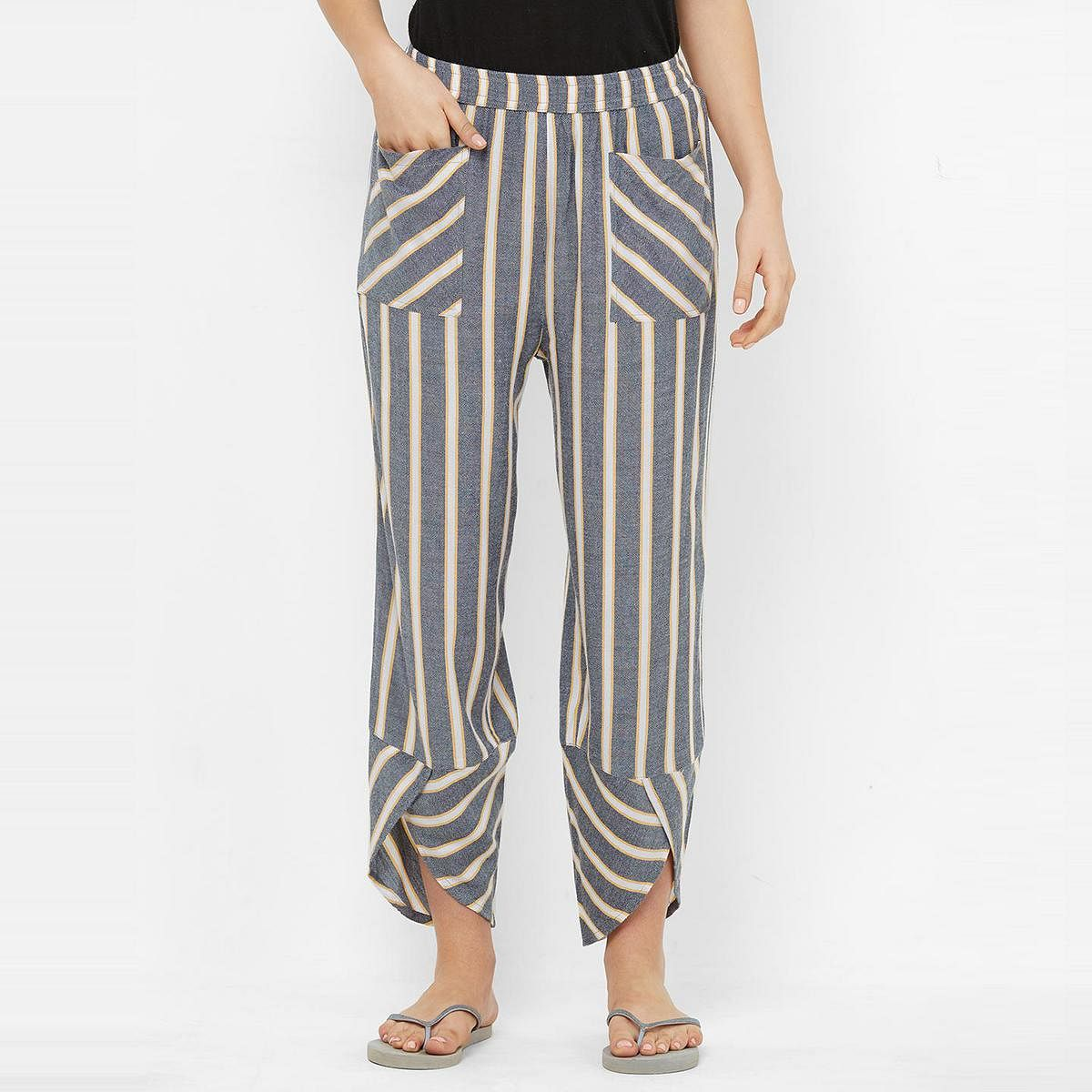 Mystere Paris - Charcoal Yellow Colored Classic Striped Rayon Lounge Pant