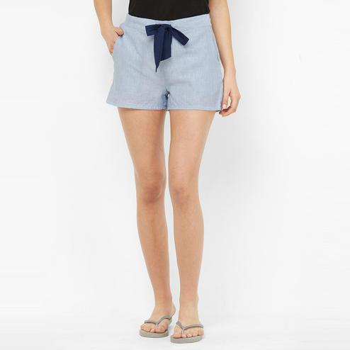 Mystere Paris - Blue Colored Classic Textured Rayon Lounge Shorts